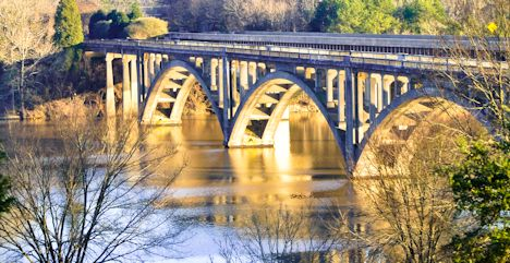 Historic Bridge Crossing Lake Tillery